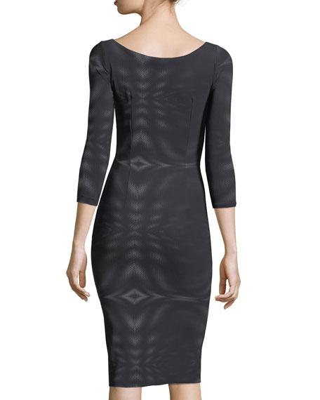 Arethusa 3/4 Sleeve Scoop-Neck Mesh Cocktail Dress
