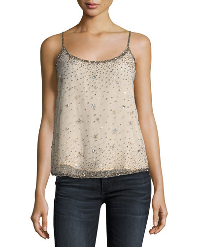 Garlen Scoop-Neck Sequined Tank