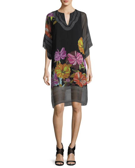 Floral-Print Split-Neck Chiffon Shift Dress