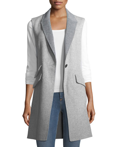 Duchess Reversible Wool-Cashmere One-Button Vest