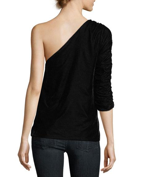 Wayman One-Shoulder Velvet Top