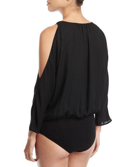 Ahsaki V-Neck Cold-Shoulder Drapes Bodysuit