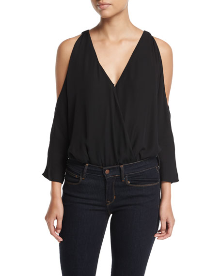 Joie Ahsaki V-Neck Cold-Shoulder Drapes Bodysuit
