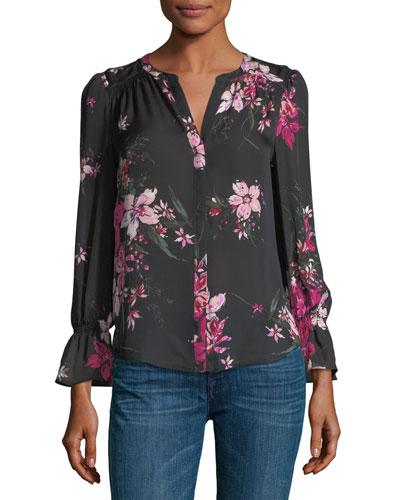 Keno Split-Neck Floral-Print Silk Top