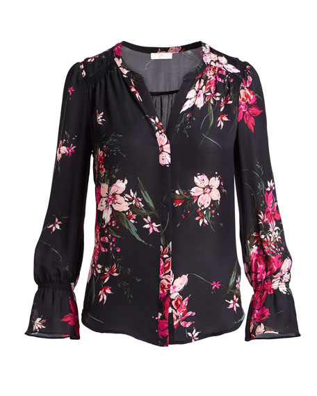 Keno Split-Neck Floral-Print Silk Top