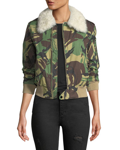Flight Zip-Front Camouflage Jacket with Fur Collar