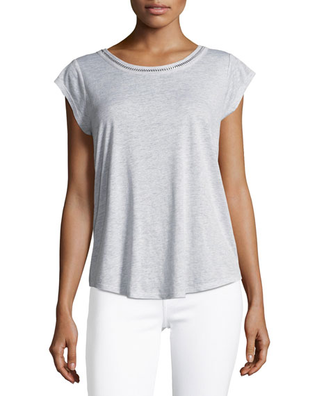 Damani Round-Neck Heathered Top w/ Chain Detail