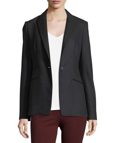 Duke Single-Button Tailored Wool Blazer
