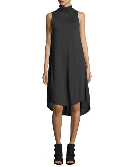 Nova Turtleneck Sleeveless High-Low Shift Dress