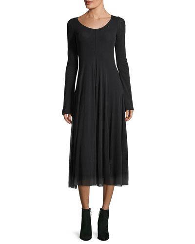 Reversible Bell-Sleeve Tulle Midi Dress