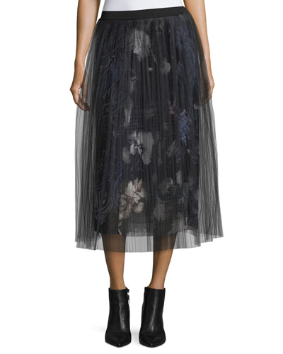 Layered Floral Skirt w/ Plisse Netting Overlay