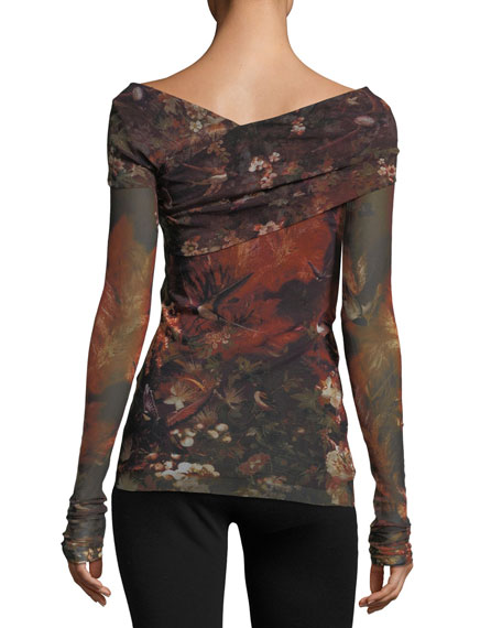 Long-Sleeve Winter Rust Floral Tulle Surplice Top