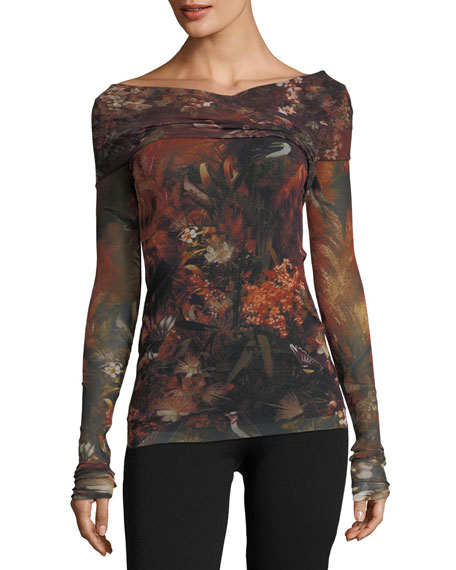 Fuzzi Long-Sleeve Winter Rust Floral Tulle Surplice Top