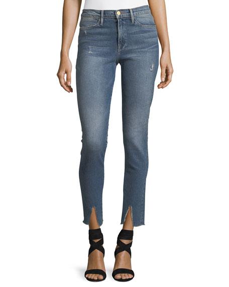 FRAME Le High Split-Hem Skinny-Leg Jeans