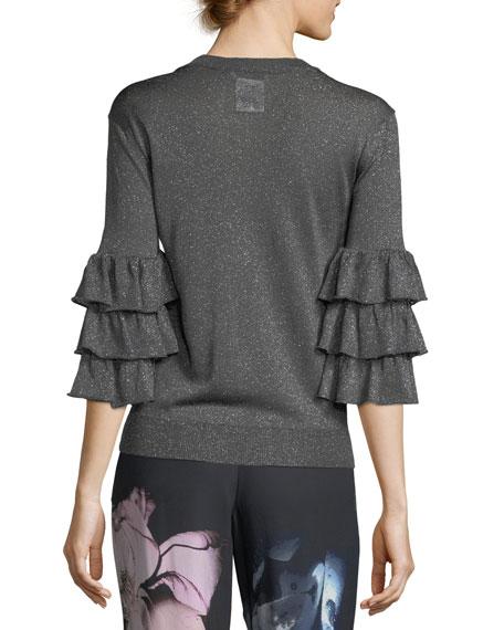 Ruffled 3/4-Sleeve Lurex® Sweater