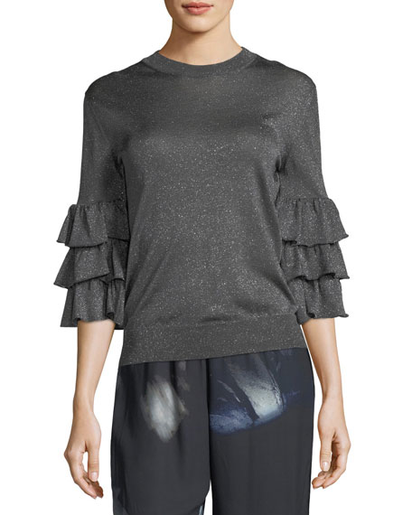 Ruffled 3/4-Sleeve Lurex® Sweater