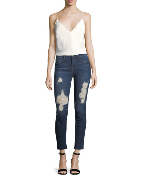Le High Distressed Skinny-Leg Cropped Raw-Edge Jeans