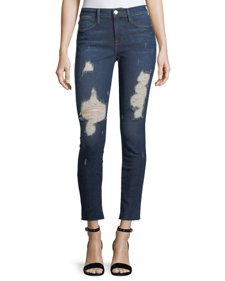 FRAME Le High Distressed Skinny-Leg Cropped Raw-Edge Jeans
