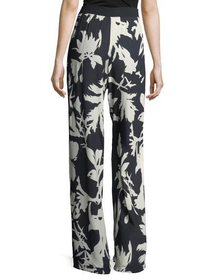 Floral-Print Crepe Track Pants