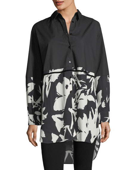 Fuzzi Colorblocked Floral Oversized Poplin Shirt