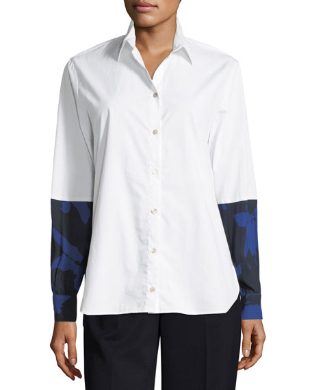 Fuzzi Long-Sleeve Button-Front Poplin Shirt w/ Floral Combo