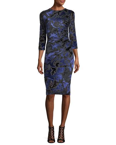 3/4-Sleeve Floral Velvet Burnout Sheath Dress