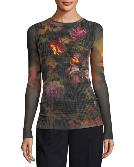 Fuzzi Long-Sleeve Embroidered Menswear Gardenia Floral Tulle Tee