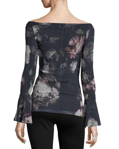 Bell-Sleeve Off-the-Shoulder Menswear Floral Tee