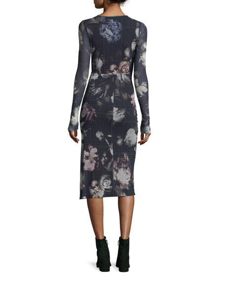 Long-Sleeve Menswear Floral Keyhole Dress