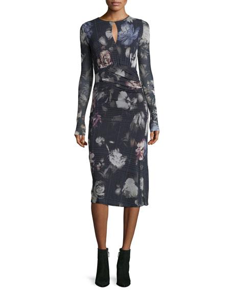 Fuzzi Long-Sleeve Menswear Floral Keyhole Dress