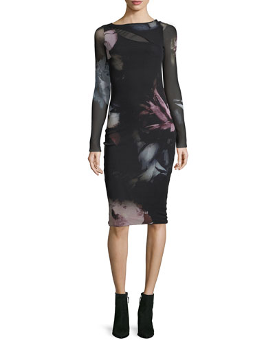 Long-Sleeve Cutout Floral Tulle Sheath Dress