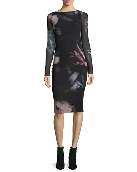 Fuzzi Long-Sleeve Cutout Floral Tulle Sheath Dress