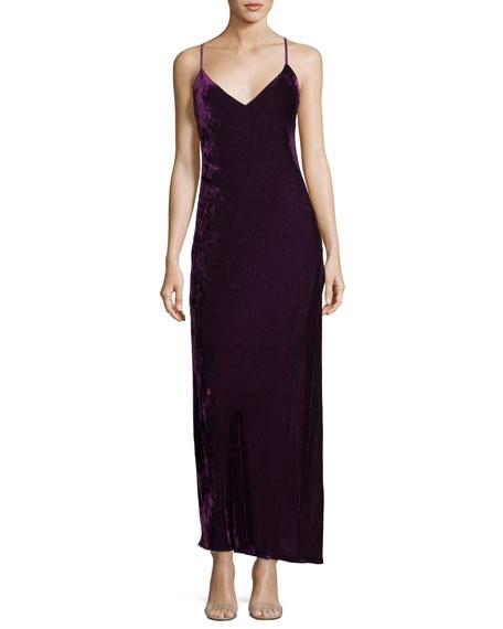 Loveshackfancy Kate Velvet V-Neck Cocktail Slip Dress