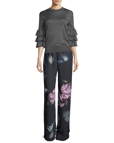 Floral Crepe Track Pants