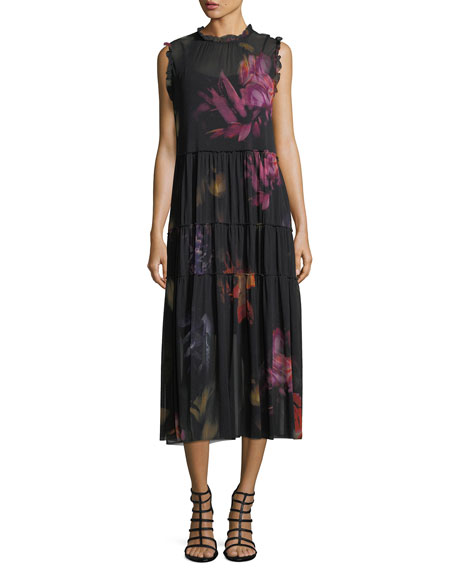 Fuzzi Sleeveless Tiered Floral Tulle Midi Dress
