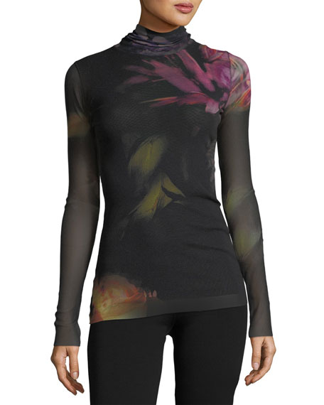 Floral Tulle Turtleneck Top