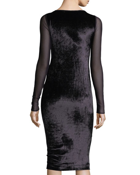 Long-Sleeve Cutout Velvet Cocktail Sheath Dress