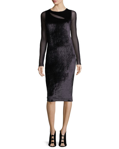 Long-Sleeve Cutout Velvet Cocktail Sheath Dress