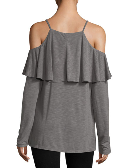 Ruffled Cold-Shoulder Tee
