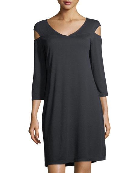 Cold-Shoulder Midi Shift Dress