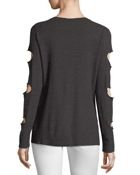 Grommet-Sleeve Cutout Sweater