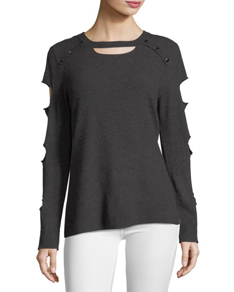 Grommet-Sleeve Cutout Sweater