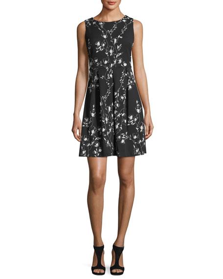 Floral-Print Scuba Fit & Flare Dress