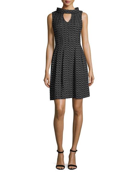 Knit-Jacquard Keyhole Dress