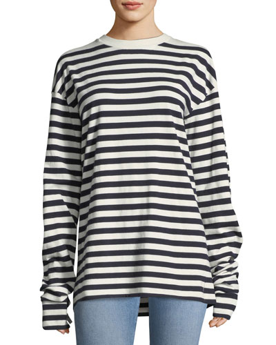 Cashmere Passiro Striped Long-Sleeve Sweater