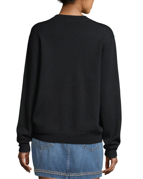 Crewneck Wool-Blend Sweatshirt w/ Embroidery