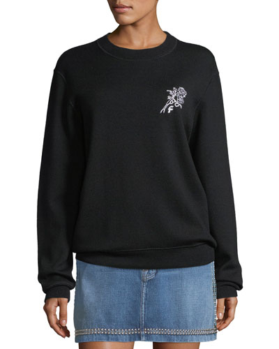 Crewneck Wool-Blend Sweatshirt w/ Embroidery