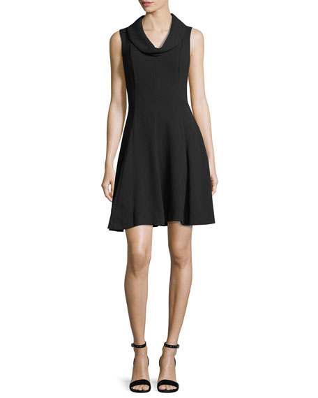 Cowl-Neck Crepe Dress