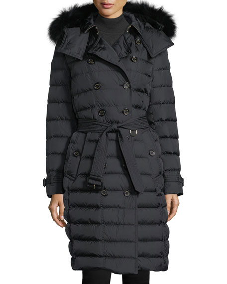 Burberry Dalmerton Double-Breasted Puffer Coat w/ Fur-Trim Hood