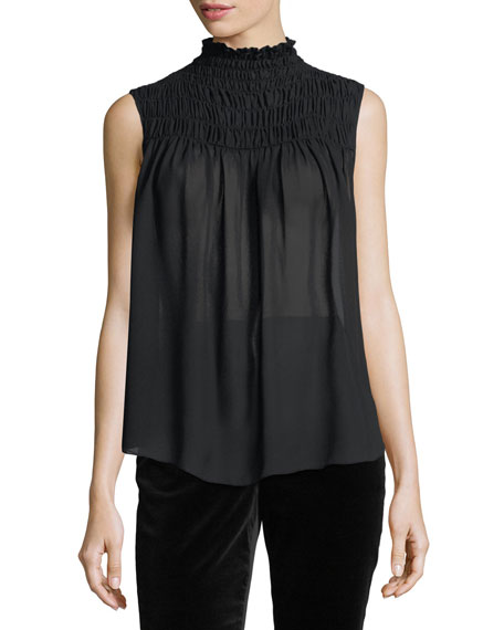 Smocked-Neck Sleeveless Satin Blouse
